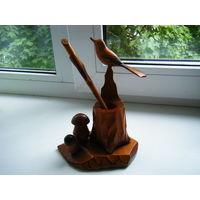Письменный прибор из СССР. Резьба по дереву, ручная работа.