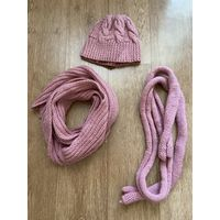 Вязаная шапка, шарф и пояс