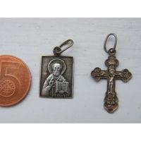 Серебряная иконка Иоанн Богослов с серебряным крестиком