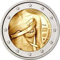 2 евро 2017 Франция 25 лет Розовой ленточке UNC из ролла