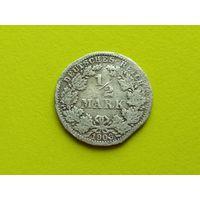 Германия. 1/2 марки 1906 A, серебро. Брак, край листа???