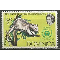 Доминика. Королева Елизавета II. Южный окоссум. 1972г. Mi#337.