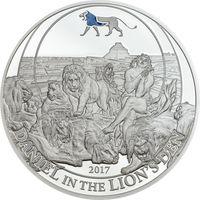 """Палау 2 доллара 2017г. Библейские истории: """"Даниил в пещере со львами"""". Монета в капсуле; подарочном футляре; номерной сертификат; коробка. СЕРЕБРО 15гр."""
