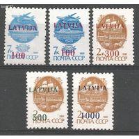 Латвия, 1991 год СТАНДАРТА НАДПЕЧАТКА MNH Mi:313, 314,315, 316 317