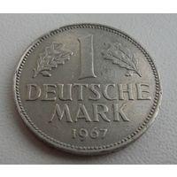 1 дойчмарка 1967 год ФРГ G, KM# 110 MARK, из коллекции