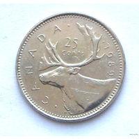 Канада 25 центов 1989 г.