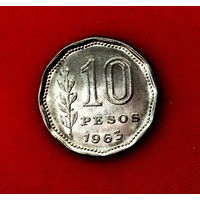 50-10 Аргентина, 10 песо 1963 г.
