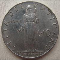 Ватикан 10 лир 1951 г. (gl)