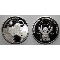 Монета 10 франков дикие животные ЛЕОПАРД, посеребрение