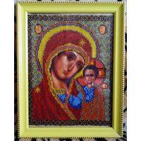 Икона вышитая бисером Казанская Богородица.