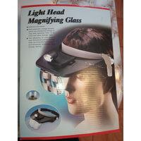 Ювелирные очки с подсветкой и 4 сменных лупы