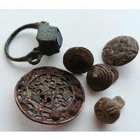 Лот интересных предметов, перстень (кольцо), пуговицы ажурная большая, гиревидные и др.