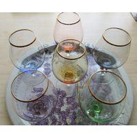 Бокалы фужеры рюмки Богемия Чехия цветное стекло набор 6 штук Винтаж