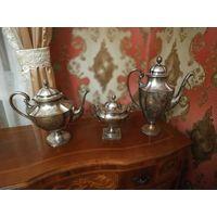 Антикварный Кофейный набор.1880-1900г.Kallmeyer & Harjes Gotha,Германия. Стиль модерн, серебрение.