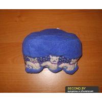 Синяя тёплая флисовая шапочка