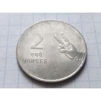 Индия 2 рупии, 2010 ( Без отметки монетного двора - Калькутта )