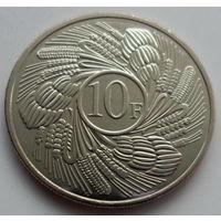 """Бурунди 10 франков 2011 """"Веерообразно расходящиеся плоды и колосья"""""""
