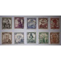 Германия\80м\  Третий Рейх, 1935г, Народные костюмы, полная серия, гаш., КЦ 65 евр