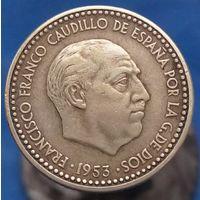 1 песета 1953 (56) Испания КМ# 775 алюминиевая бронза