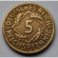 Германия, 5 пфеннигов 1924 г. D
