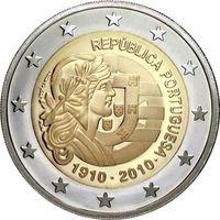 2 евро 2010 Португалия 100 лет Португальской Республике UNC из ролла