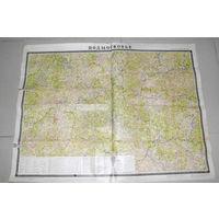 Редкая  карта для охотников  и рыболовов Подмосковья 1973 года! масштаб 1:600000.Карта из  плотной  лощёной  бумаги.