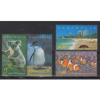 Австралия Коала пингвин рыбы пляж 2004 год чистая полная серия из 4-х марок