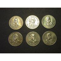 Монетоподобные жетоны с президентами США 6 штук
