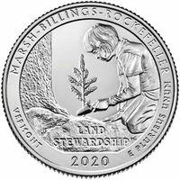 25 центов США 2020 г.  54 й Исторический парк Марш-Биллингс-Рокфеллер D