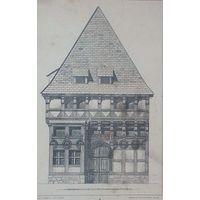 19 век. гравюра . HAUS IN HAMELN   Berlin