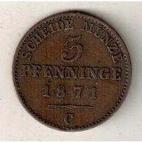 Пруссия 3 пфенниг 1871