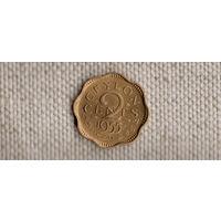 Цейлон Шри Ланка 2 цента 1955/блеск(Nv)