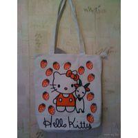 Сумка Hello Kitty. Размер 36 на 37, ширина дна 11 см. Сделана из качественно плотной ткани, внутри на подкладке. Есть внешний кармашек на замочке, внутри есть три кармашка. Обмен не интересует