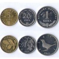 Хорватия - Набор 3 монеты - 2007 2009 - UNC