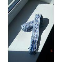 Пояс Традиционный беларусский. Лен. Синий цвет. Длина 2м. Ширина 3 см.