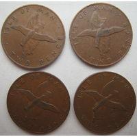 Остров Мэн 2 пенса 1976, 1977, 1978, 1979 гг. Цена за 1 шт. (g)