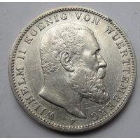 Германия, Вюртемберг, 3 марки, 1909, серебро
