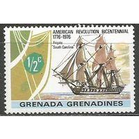 Гренада Гренадины. 200 лет США. Парусник. 1976г. Mi#178.