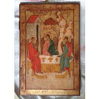Икона старая большой размер 60х40 Троица