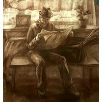 """Читающий"", рисунок мягким материалом 90х90 см"