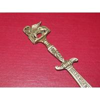 Старинный веницианский канцелярский нож. RICORDO du VENEZIA. Бронза.