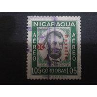 Никарагуа 1960 президент США А. Линкольн, надпечатка