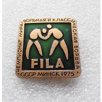 Значок. FILA. Чемпионат мира по борьбе. Минск 1975 год #0354