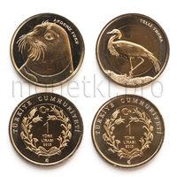 Турция 2 монеты 2013 года. Журавль и тюлень (красная книга Турции).