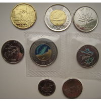 Канада 2017 г. 150-летие Конфедерации. Набор 8 штук: 5-10-25-50 центов + 1,2 доллара (простые и в цвете)