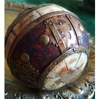 Очень старое Пресс папье декоративный шар Страны Востока бронза натуральная слоновая кость