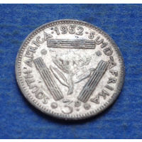 Южная Африка Британский доминион 3 пенса 1952 Георг VI Серебро