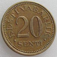 Эстония, 20 сенти/ сентов/ senti 1935 года, KM#17, никель-бронза