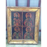 Икона Три святителя и Николай Чудотворец