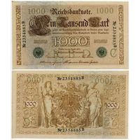 Германия. 1000 марок (образца 1910 года, P45b, зелёная печать, aUNC)